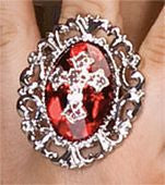 Red Gothic Cross Ring - HalloweenCostumes4U.com - Accessories