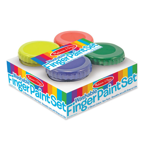 Melissa & Doug Finger Paint Set (4 pcs) - Red, Yellow, Blue, Green