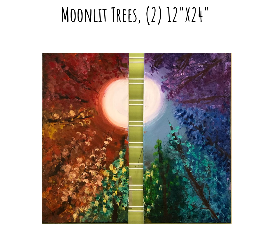 Date Night Moonlit Trees Acrylic Painting