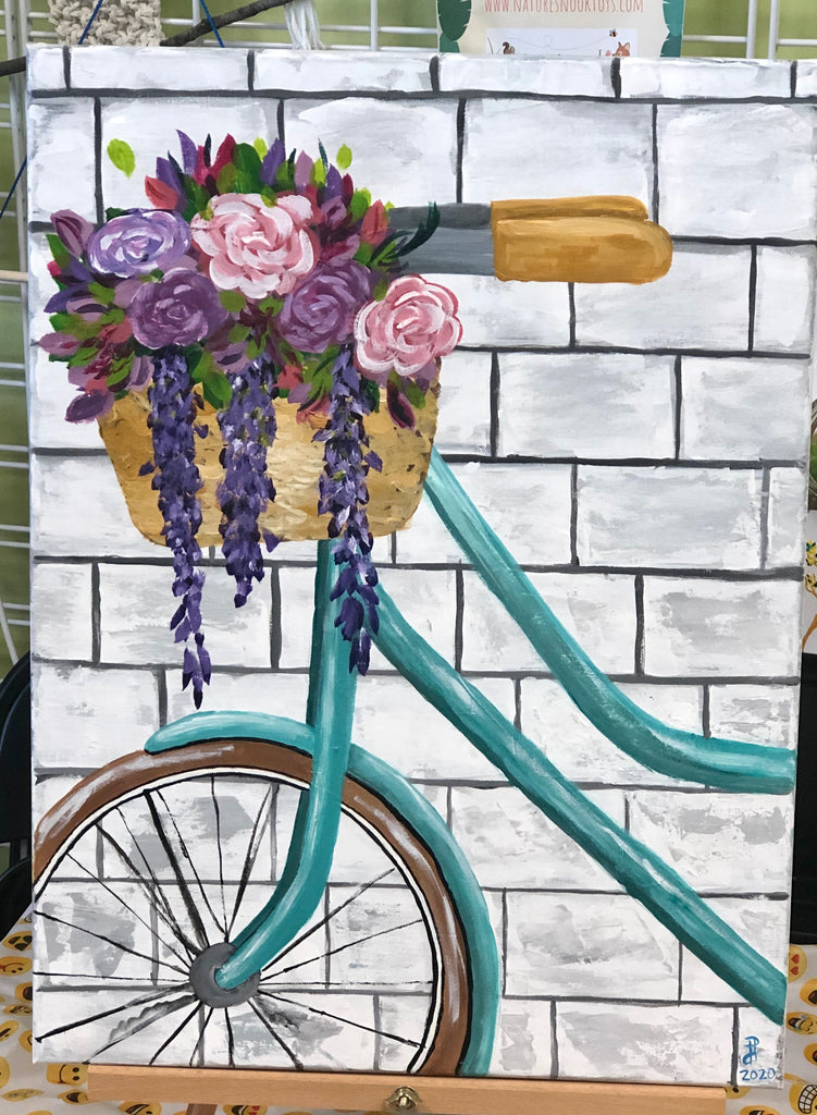 Teal Bike Acrylic Painting