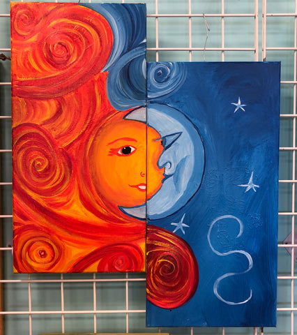 Date Night Sun & Moon Acrylic Painting