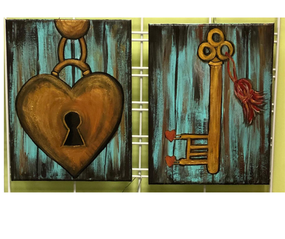 Date Night Heart Lock & Key Acrylic Painting