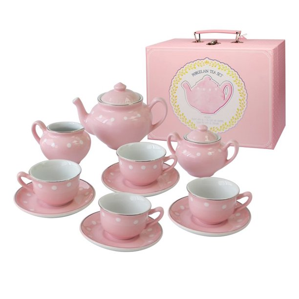 Bright Stripes Porcelain Tea Set-Pink