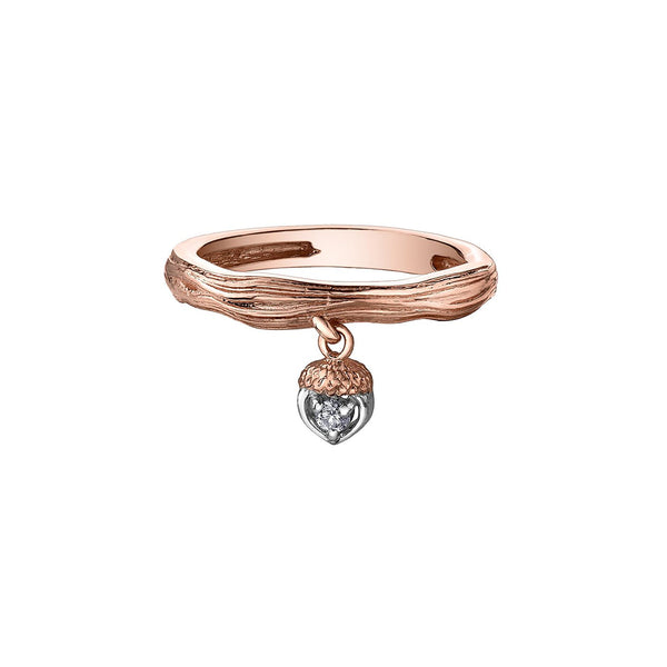 Nature inspired ring crafted in 14kt Canadian Certified Gold with a wood-like pattern on the band and an acorn charm set with a round brilliant-cut diamond.