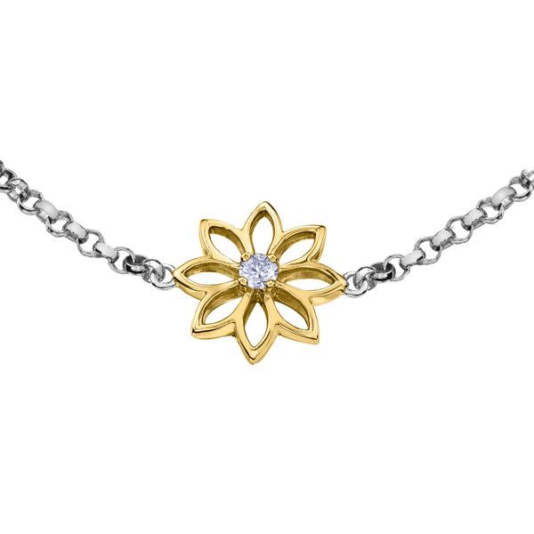 Crafted in 14KT Certified Canadian Gold, this bracelet features a water lily flower with a round brilliant-cut Canadian centre diamond.