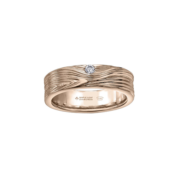 Men's ring crafted in 14kt rose Certified Canadian Gold features a barn board-inspired pattern with a 0.08CT round-brilliant cut Canadian diamond.