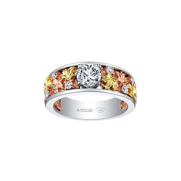 Nature inspired ring features leaves crafted in 14KT rose and yellow Canadian Certified Gold surrounding a 0.70 CT round brilliant-cut Canadian centre diamond and 12 smaller diamonds.