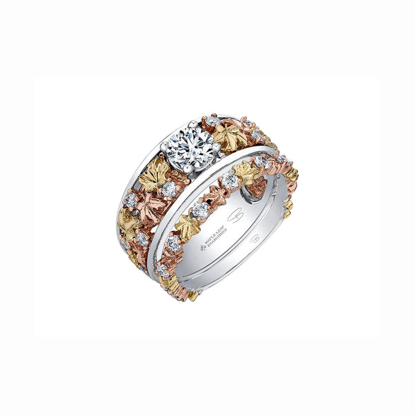 'Brilliant Fall Ring' with matching band 'Falling Leaves Band'