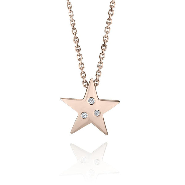 Crafted in 14KT rose gold, this star shaped pendant is set with 3 round brilliant-cut diamonds.
