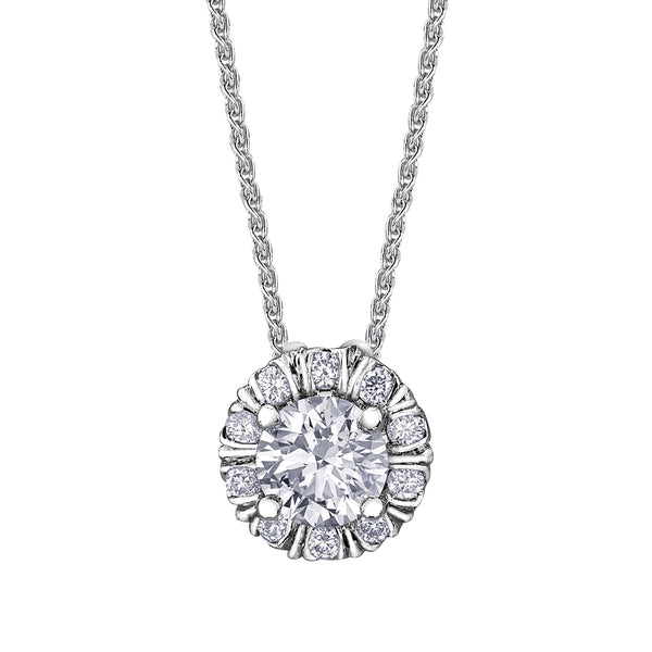 Necklace with a stunning pendant crafted in 18kt Canadian Certified Gold featuring a round brilliant-cut Canadian centre diamond and melee diamonds in a fur-trim halo.