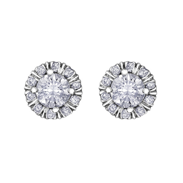 Crafted in 18KT white Certified Canadian gold, these stud earrings feature melee diamond fur-trim halos with round brilliant-cut Canadian centre diamonds.