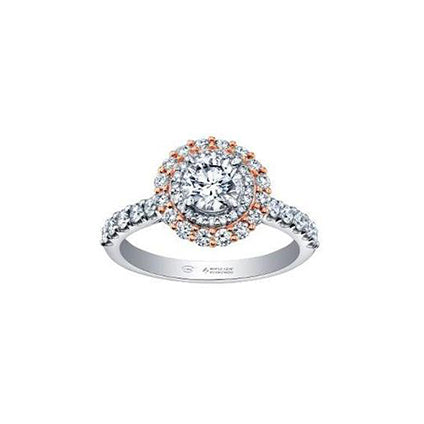 Crafted in 18kt rose Canadian Certified Gold and 18kt Pure White™, this engagement ring features a double halo with a round brilliant-cut Canadian centre diamond on a diamond set band.