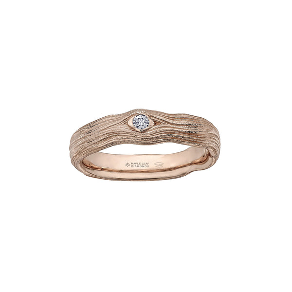 Crafted in 14KT rose Certified Canadian Gold, this men's ring features a round brilliant-cut Canadian diamond set on a driftwood-inspired band.
