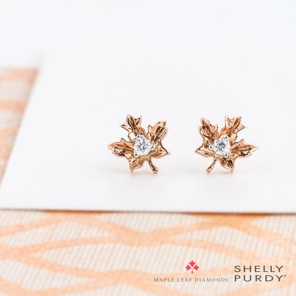 Maple Leaf Diamond Stud Earrings