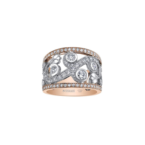 A ring inspired by an enchanted garden with a rose vine design. Crafted in 14KT Canadian Certified Gold, this ring sparkles with round brilliant-cut Canadian diamonds and diamond-set rims.