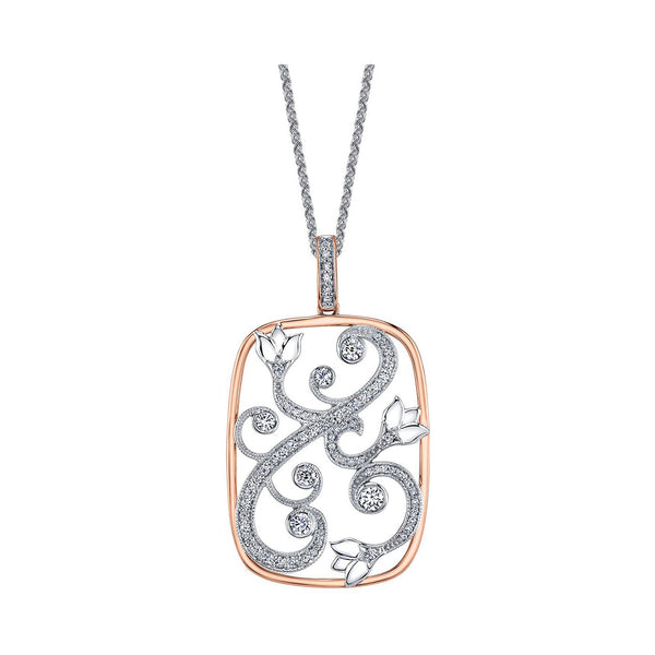 A pendant inspired by an enchanted garden with a rose vine design. Necklace is crafted in 14KT Canadian Certified Gold and features 0.36CT round brilliant-cut Canadian diamonds and 0.43CTW diamonds.