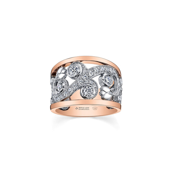 A ring inspired by an enchanted garden with a rose vine design. Crafted in 14KT Canadian Certified Gold, this ring sparkles with round brilliant-cut Canadian diamonds and diamond sides.