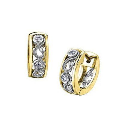 Crafted in 14KT white and yellow Certified Canadian Gold, these huggie earrings feature a rose vine design set with round brilliant-cut Canadian diamonds.