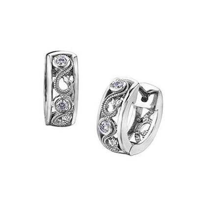 Crafted in 14KT white Certified Canadian Gold, these huggie earrings feature a rose vine design set with round brilliant-cut Canadian diamonds.