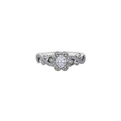 A rose vine design twists along the sides of this engagement ring crafted in 18kt Pure White™ and set with a 0.30ct oval-cut Canadian centre diamond and diamond sides.