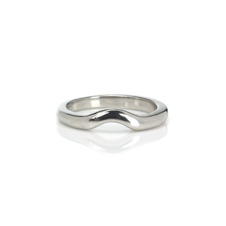 Crafted in  14KT white gold, this 3mm band features a curve.
