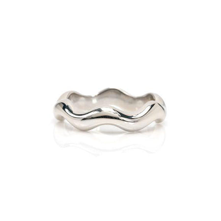 Ruffle pattern band crafted in 14KT white gold.