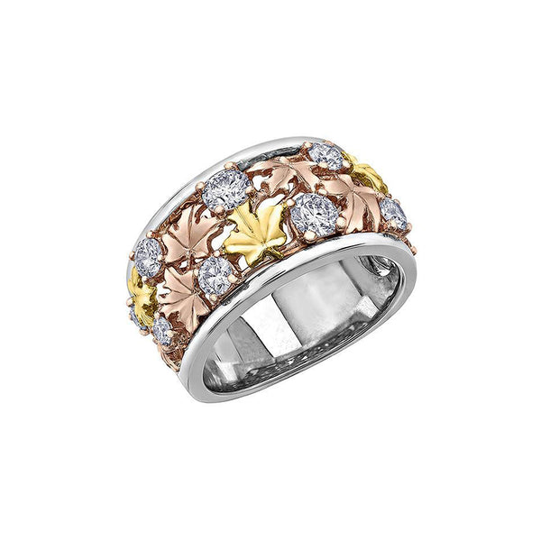 Crafted in 14KT rose, white and yellow Certified Canadian Gold, this ring features maple leafs and round brilliant-cut Canadian diamonds.