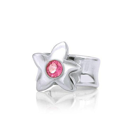 Crafted in sterling silver, this ring features a large flower with a pink tourmaline centre.