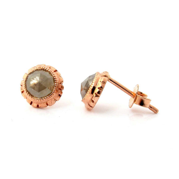 Crafted in 14KT rose gold, these stud earrings feature grey round rose-cut diamonds in a fringe setting.
