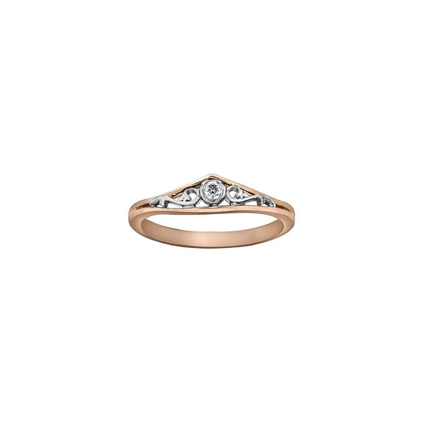 Ring features stunning rose vines crafted in 18KT white and rose Canadian Certified Gold surrounding a round brilliant-cut Canadian diamond.