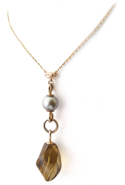 Signature Champaign Quartz and Tahitian Pearl Necklace