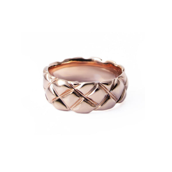 7mm quilted band crafted in 14KT rose gold.