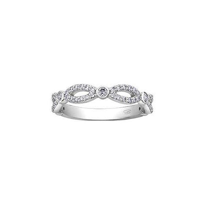 Crafted in 14KT Canadian Certified Gold, this infinity symbol-inspired band features Canadian diamonds.