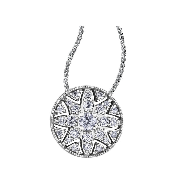 Filigree water lily flower pendant with a 0.08CT round brilliant-cut Canadian diamond at its centre and diamonds surrounding (0.18CTW). This necklace is fashioned from 14KT Certified Canadian Gold.