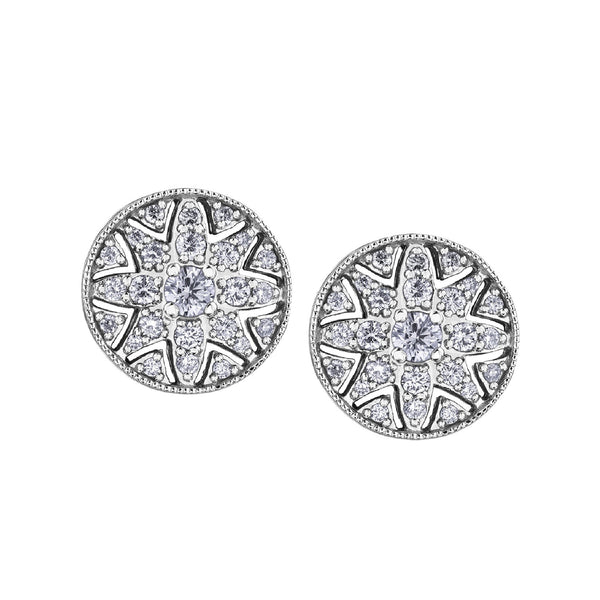 Crafted in 14KT Certified Canadian Gold, these water lily flower-inspired filigree stud earrings feature round brilliant-cut Canadian diamonds.
