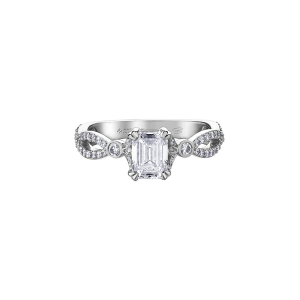 Crafted in 18kt Pure White™, this engagement ring features an emerald-cut Canadian centre diamond on a diamond set infinity symbol-inspired band.