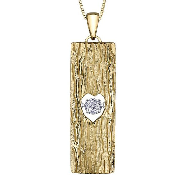 Pendant that resembles tree bark with a heart shaped cut out filled by a round brilliant-cut Canadian diamond.  This necklace is crafted in 14kt Canadian Certified Gold.
