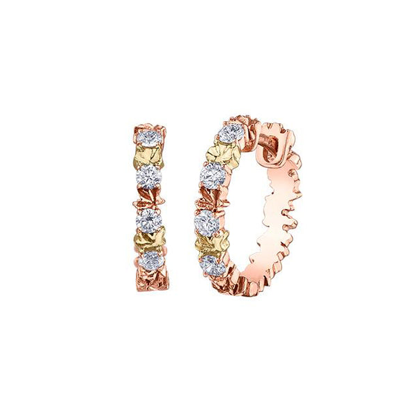 Crafted in 14KT rose and yellow Certified Canadian Gold, these hoop earrings feature tri-colour maple leafs alternating with round brilliant-cut Canadian diamonds.