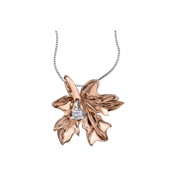 Maple leaf pendant crafted in 14KT rose Canadian Certified Gold. Necklace is set with a round brilliant-cut Canadian diamond.