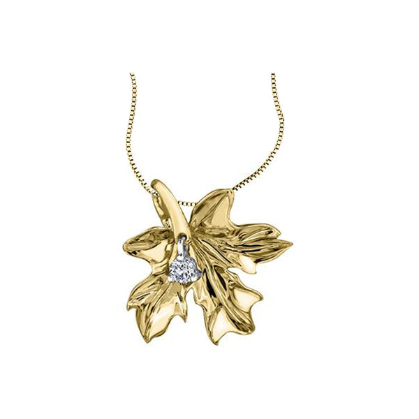 Crafted in 14KT yellow Certified Canadian Gold, this maple leaf pendant is set with a round brilliant-cut Canadian diamond.
