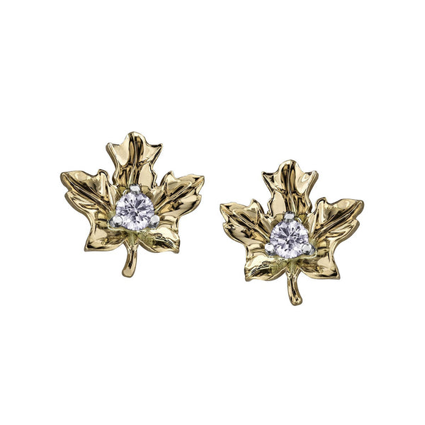 Crafted in 14KT yellow Certified Canadian Gold, these maple leaf stud earrings are set with round brilliant-cut Canadian diamonds.