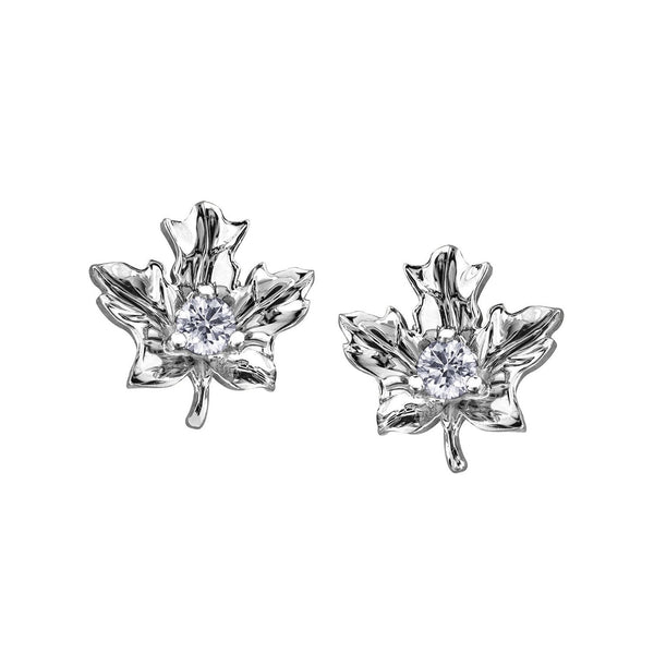 Crafted in 14KT white Certified Canadian Gold, these maple leaf stud earrings are set with round brilliant-cut Canadian diamonds.