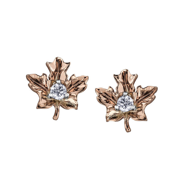 Maple leaf stud earrings crafted in 14KT rose Canadian Certified Gold set with round brilliant-cut Canadian diamonds.