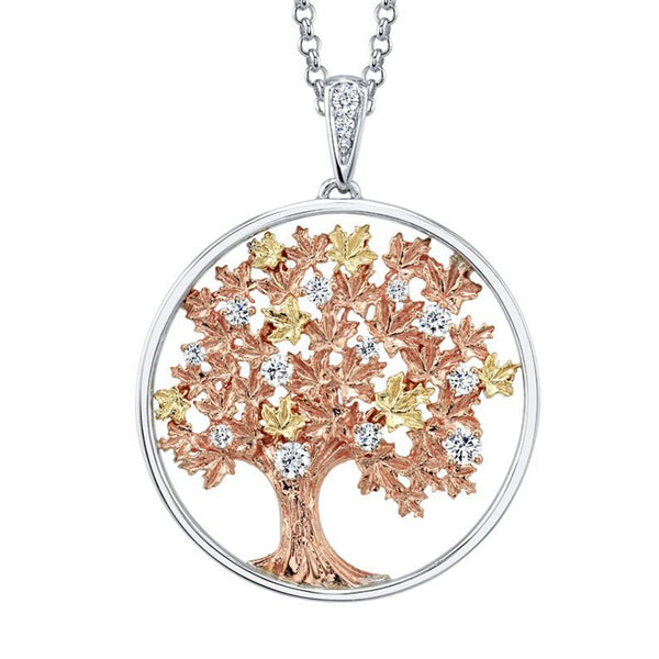 Pendant features a maple tree crafted from 14KT rose and yellow Canadian Certified Gold. The necklace sparkles with 15 round brilliant-cut Canadian diamonds.