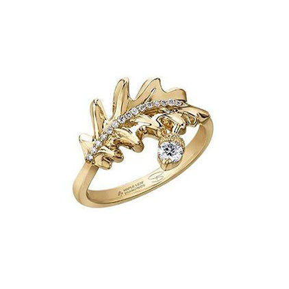Ring features an oak leaf fashioned from 14KT Canadian Certified Gold with a row of diamonds. A Canadian diamond-set acorn charm completes the ring.