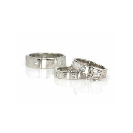 From left to right: 'Men's Opulence 6-mm Flat Band with Princess-Cut Diamonds', 'Opulence Flat Band with Princess-Cut Diamonds', 'Opulence Princess Wide Engagement Ring'.