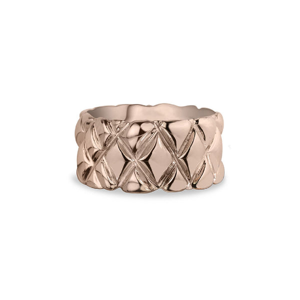10mm quilted band crafted in 14KT rose gold.