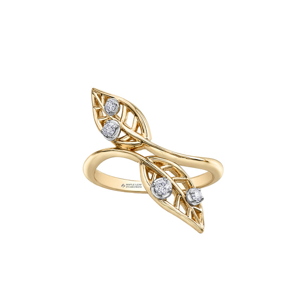 Crafted  in 14KT yellow Canadian Certified Gold, this ring features two willow tree leaves set with four round brilliant-cut Canadian diamonds.