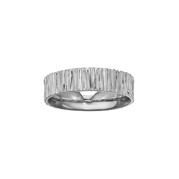 Men's ring crafted in 14kt Certified Canadian Gold features a stream water inspired pattern with a 0.06CT round-brilliant cut Canadian diamond hidden on the inside of ring.