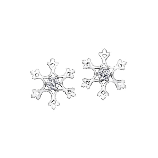 Crafted in 14KT white Canadian Certified Gold, these snowflake stud earrings have round brilliant-cut Canadian centre diamonds.